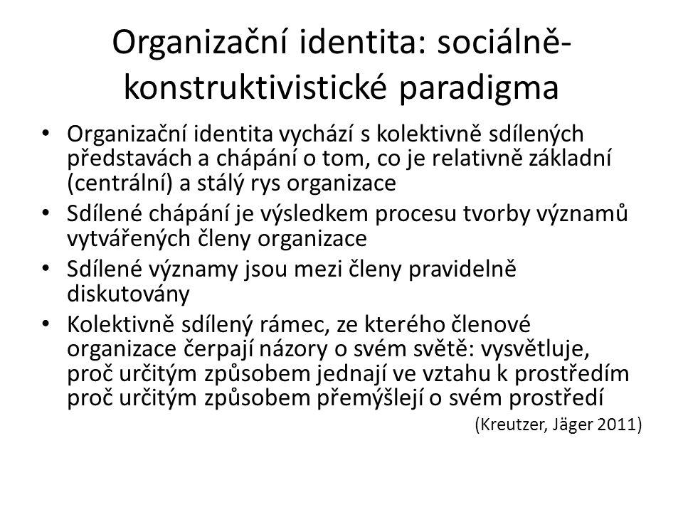 Duální organizační identity Stejně jako lidé, tak i organizace mohou mít více identit Organizace má duální identit, když v organizaci existuje více různorodých konceptualizací vztahující se k představě o tom, co je centrální, jedinečné a přetrvávající v čase Sociálně-konstruktivustický přístup: rozdílné typy kolektivního sebechápání aktérů o jejich organizaci nebo rozdílné typy sdíleného chápání vytvářeného/sdíleného členy organizace (Kreutzer, Jäger 2011)