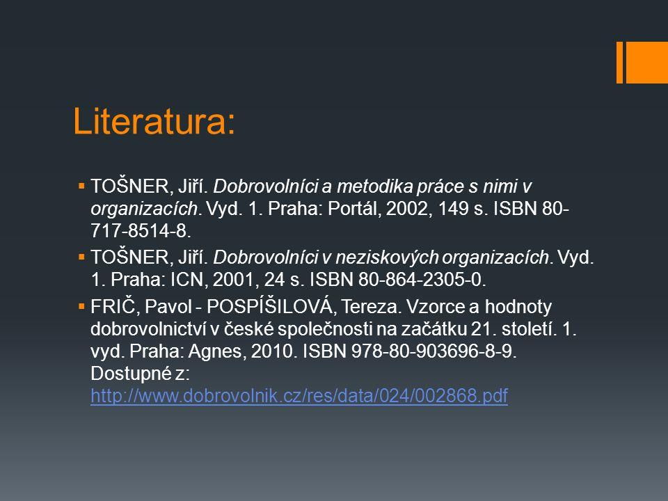 Literatura:  TOŠNER, Jiří. Dobrovolníci a metodika práce s nimi v organizacích.