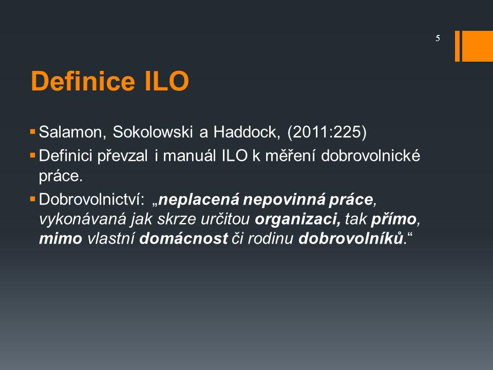 Definice ILO  Salamon, Sokolowski a Haddock, (2011:225)  Definici převzal i manuál ILO k měření dobrovolnické práce.