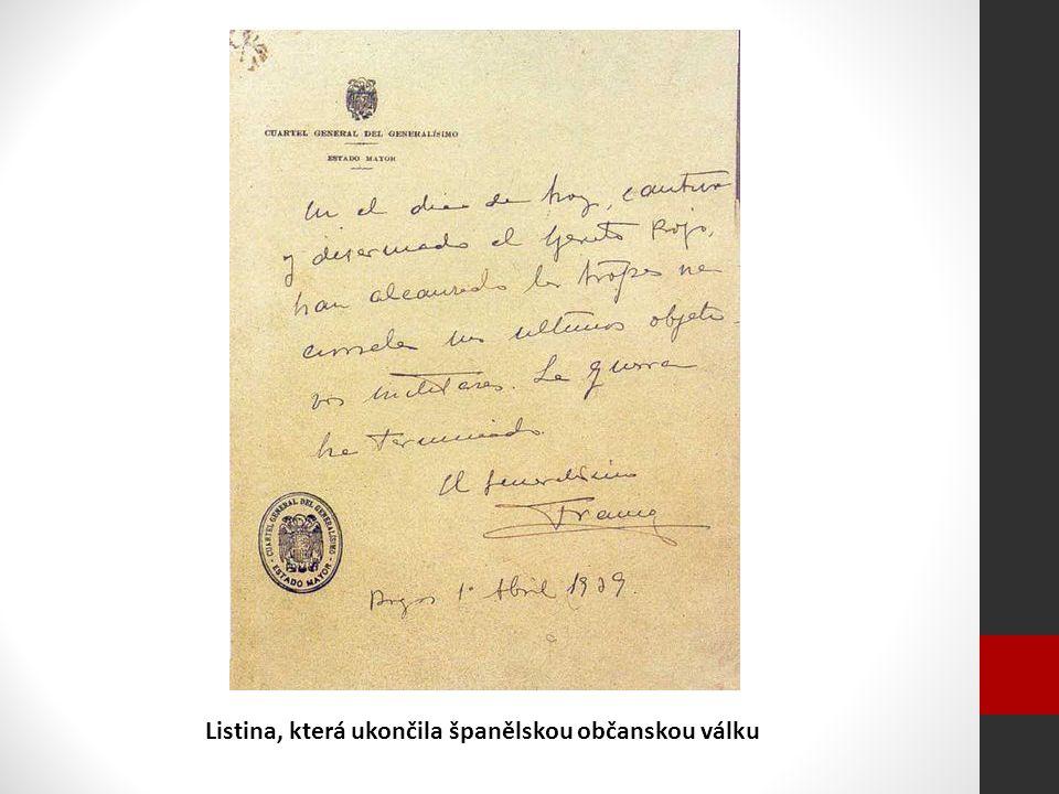 Listina, která ukončila španělskou občanskou válku