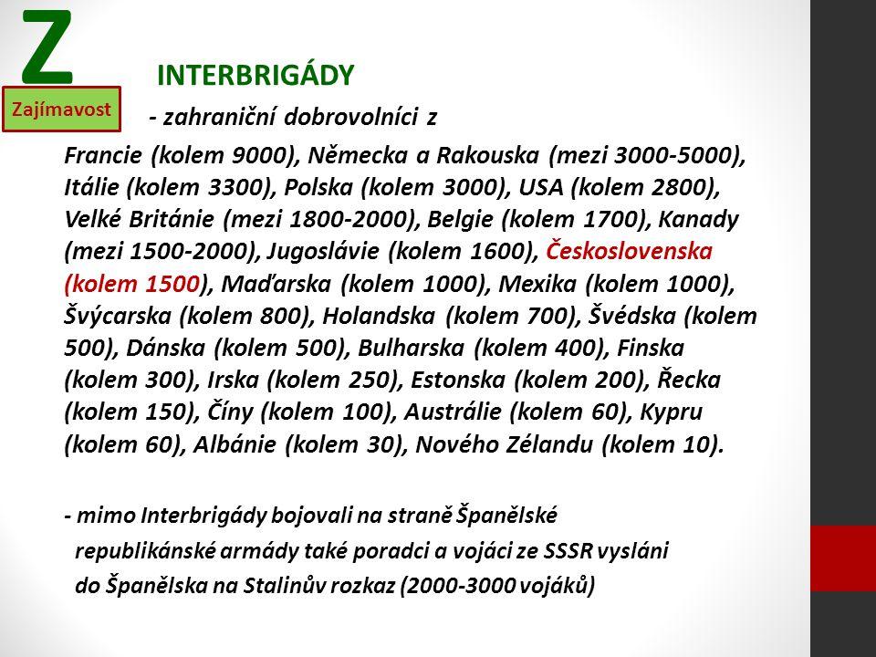 INTERBRIGÁDY - zahraniční dobrovolníci z Francie (kolem 9000), Německa a Rakouska (mezi 3000-5000), Itálie (kolem 3300), Polska (kolem 3000), USA (kolem 2800), Velké Británie (mezi 1800-2000), Belgie (kolem 1700), Kanady (mezi 1500-2000), Jugoslávie (kolem 1600), Československa (kolem 1500), Maďarska (kolem 1000), Mexika (kolem 1000), Švýcarska (kolem 800), Holandska (kolem 700), Švédska (kolem 500), Dánska (kolem 500), Bulharska (kolem 400), Finska (kolem 300), Irska (kolem 250), Estonska (kolem 200), Řecka (kolem 150), Číny (kolem 100), Austrálie (kolem 60), Kypru (kolem 60), Albánie (kolem 30), Nového Zélandu (kolem 10).
