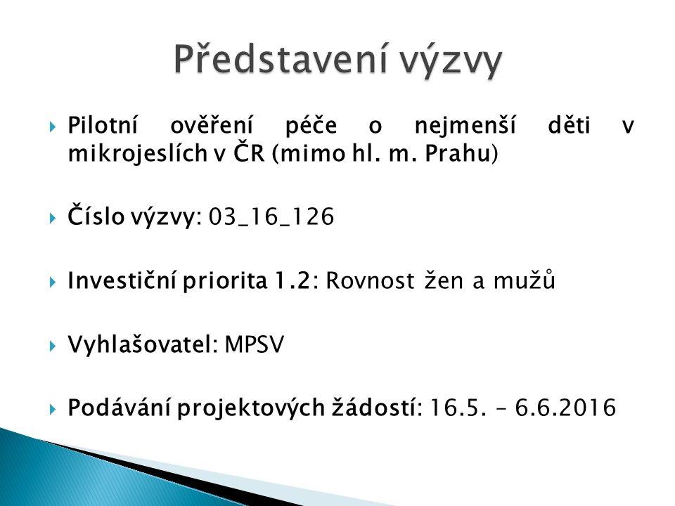  Pilotní ověření péče o nejmenší děti v mikrojeslích v ČR (mimo hl.