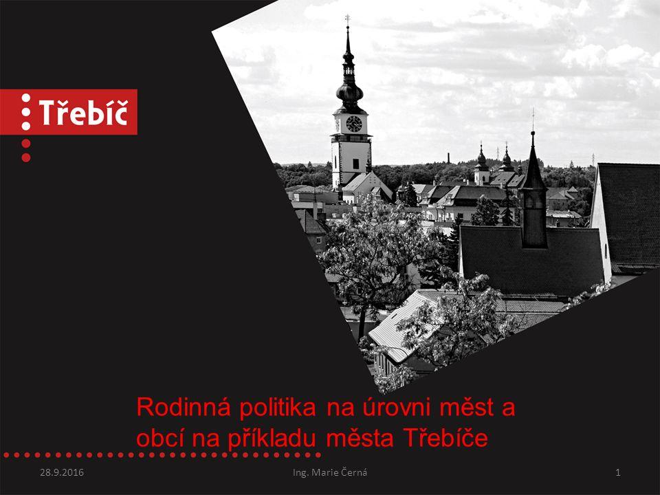 Rodinná politika na úrovni měst a obcí na příkladu města Třebíče 28.9.2016Ing. Marie Černá1