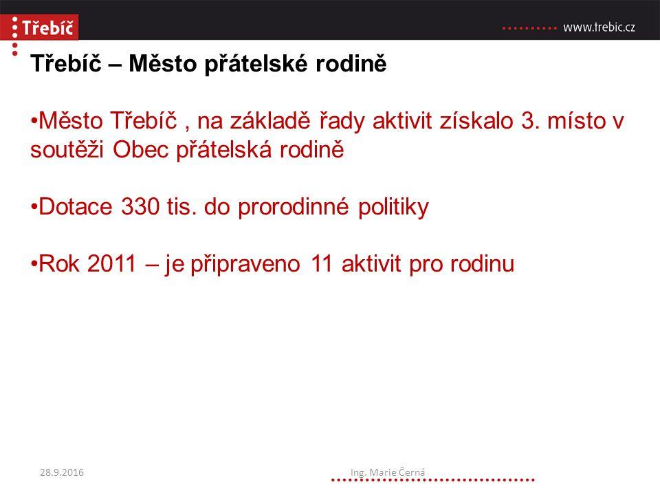 Třebíč – Město přátelské rodině Město Třebíč, na základě řady aktivit získalo 3.