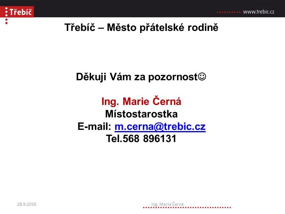 Třebíč – Město přátelské rodině Děkuji Vám za pozornost Ing.