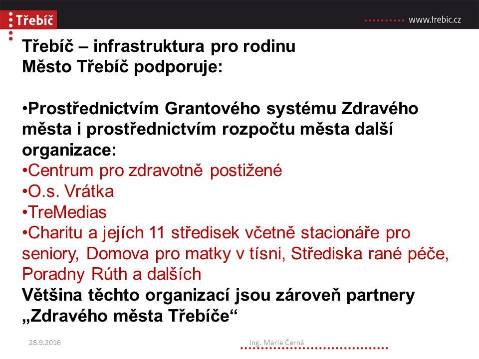 Třebíč – infrastruktura pro rodinu Město Třebíč podporuje: Prostřednictvím Grantového systému Zdravého města i prostřednictvím rozpočtu města další organizace: Centrum pro zdravotně postižené O.s.