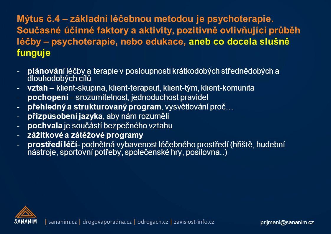 prijmeni@sananim.cz Mýtus č.4 – základní léčebnou metodou je psychoterapie.