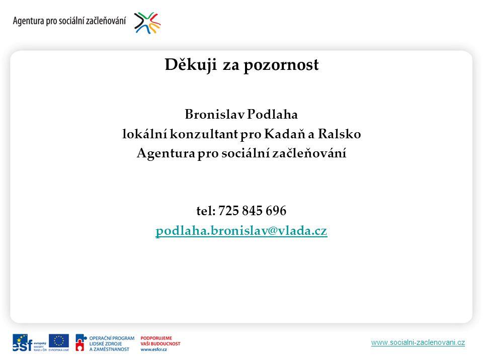 www.socialni-zaclenovani.cz Děkuji za pozornost Bronislav Podlaha lokální konzultant pro Kadaň a Ralsko Agentura pro sociální začleňování tel: 725 845 696 podlaha.bronislav@vlada.cz