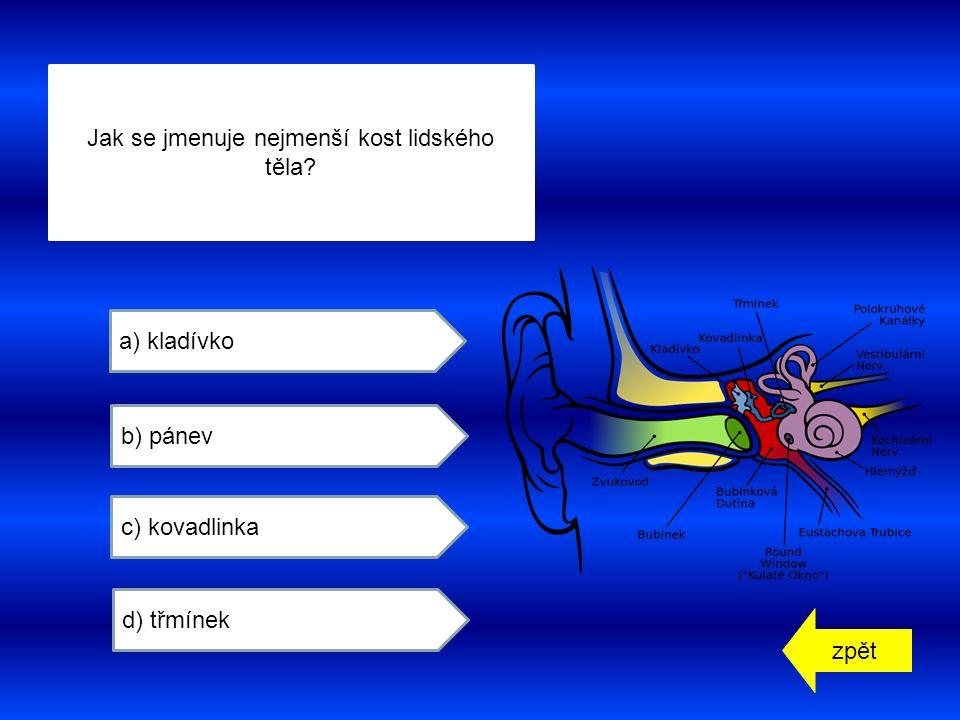 zpět a) kladívko b) pánev c) kovadlinka d) třmínek Jak se jmenuje nejmenší kost lidského těla