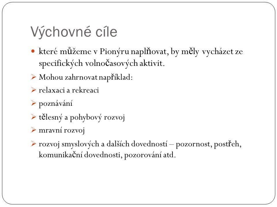 Výchovné cíle které m ů žeme v Pionýru napl ň ovat, by m ě ly vycházet ze specifických volno č asových aktivit.