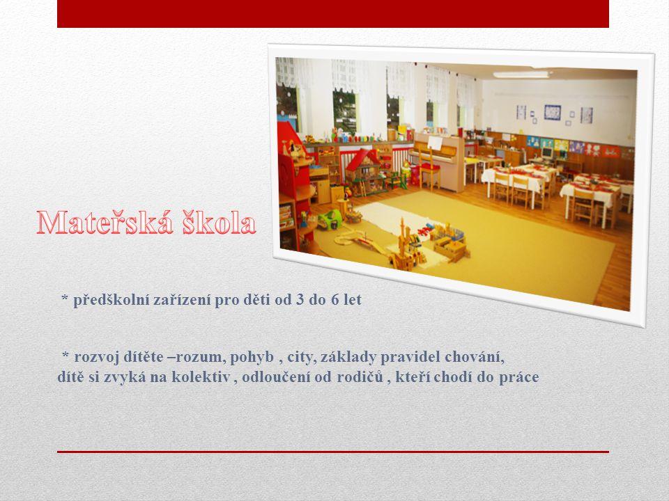 * předškolní zařízení pro děti od 3 do 6 let * rozvoj dítěte –rozum, pohyb, city, základy pravidel chování, dítě si zvyká na kolektiv, odloučení od rodičů, kteří chodí do práce