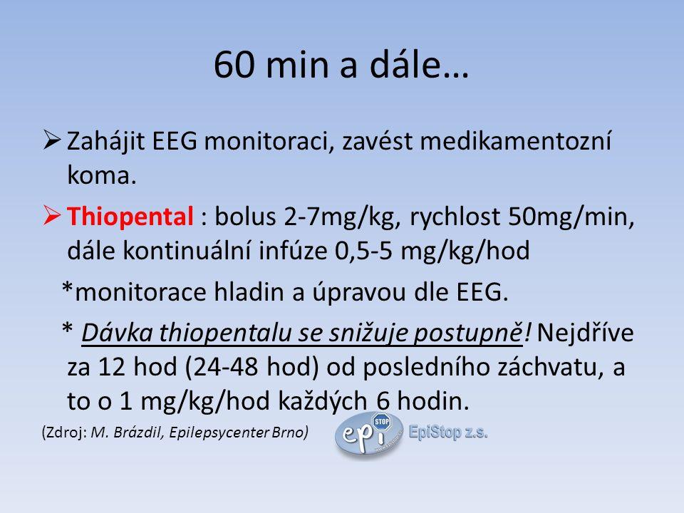 60 min a dále…  Zahájit EEG monitoraci, zavést medikamentozní koma.