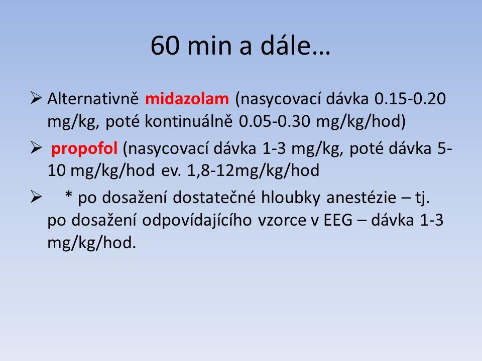 60 min a dále…  Alternativně midazolam (nasycovací dávka 0.15-0.20 mg/kg, poté kontinuálně 0.05-0.30 mg/kg/hod)  propofol (nasycovací dávka 1-3 mg/kg, poté dávka 5- 10 mg/kg/hod ev.