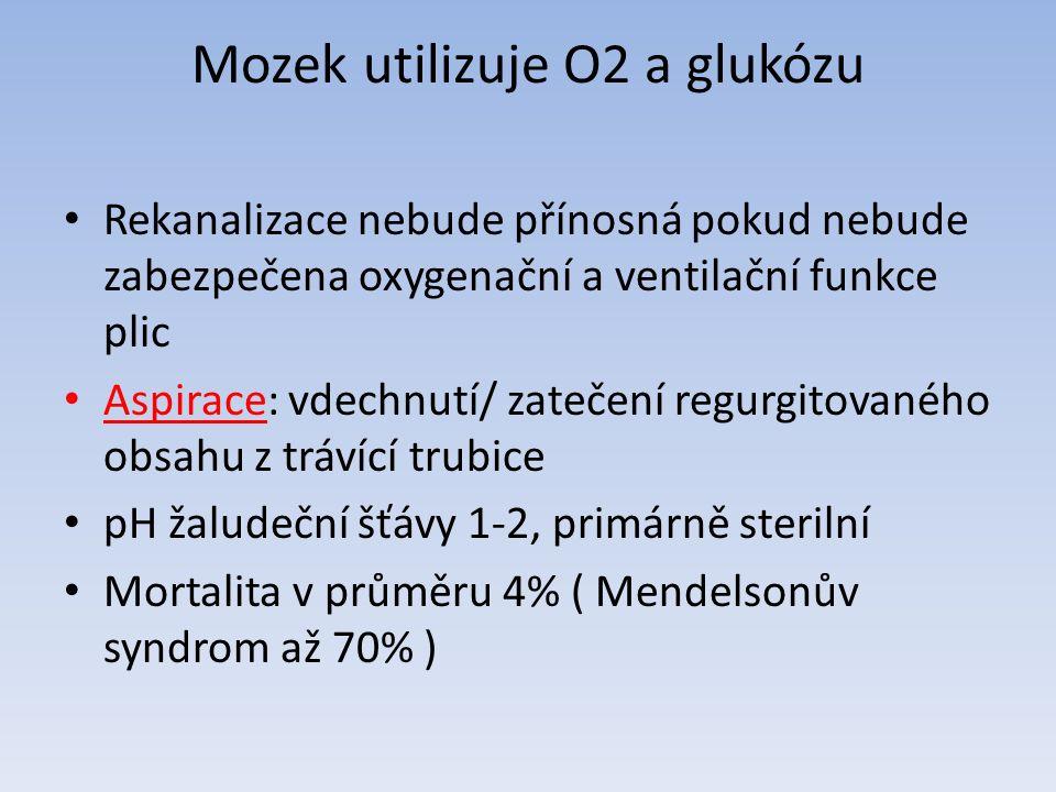 Mozek utilizuje O2 a glukózu Rekanalizace nebude přínosná pokud nebude zabezpečena oxygenační a ventilační funkce plic Aspirace: vdechnutí/ zatečení regurgitovaného obsahu z trávící trubice pH žaludeční šťávy 1-2, primárně sterilní Mortalita v průměru 4% ( Mendelsonův syndrom až 70% )