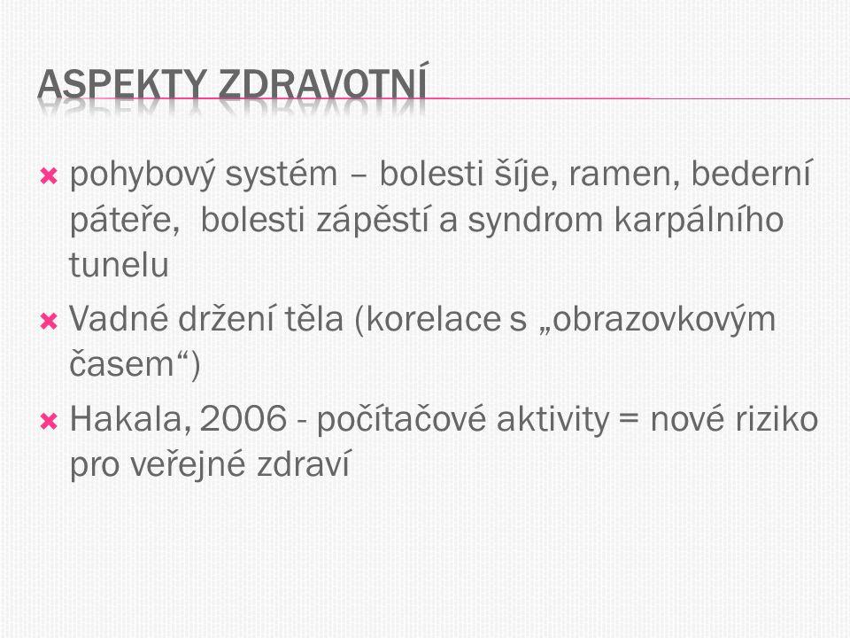 """ pohybový systém – bolesti šíje, ramen, bederní páteře, bolesti zápěstí a syndrom karpálního tunelu  Vadné držení těla (korelace s """"obrazovkovým časem )  Hakala, 2006 - počítačové aktivity = nové riziko pro veřejné zdraví"""