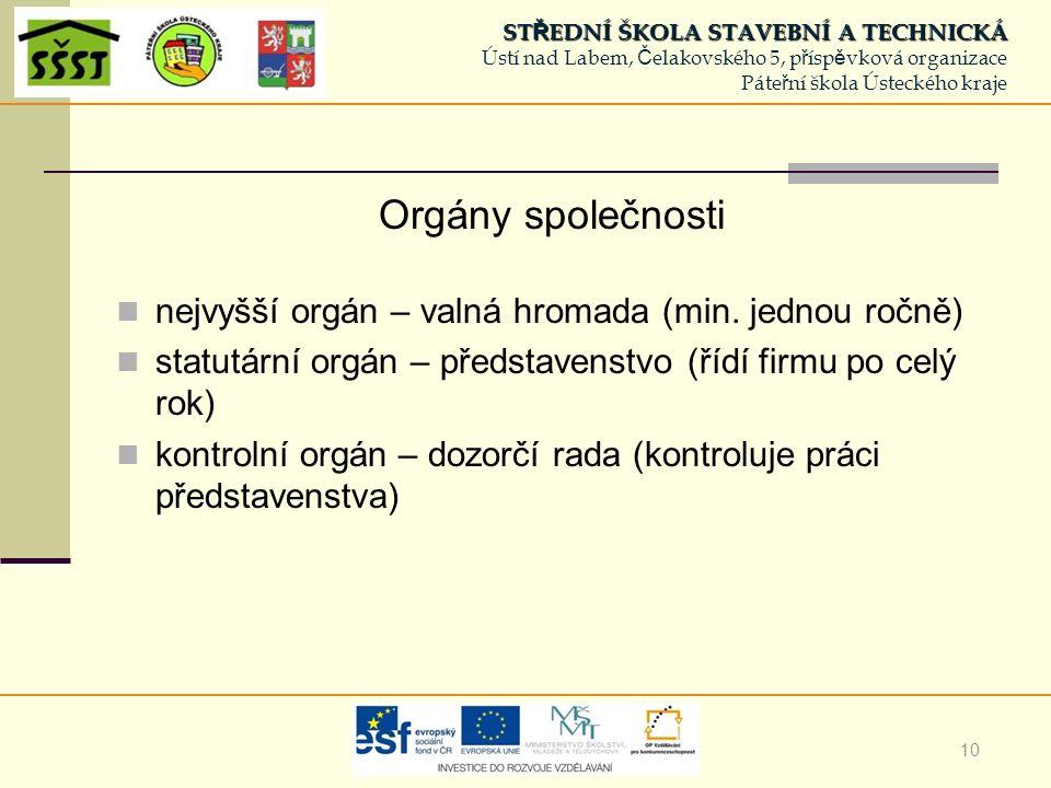10 Orgány společnosti nejvyšší orgán – valná hromada (min.
