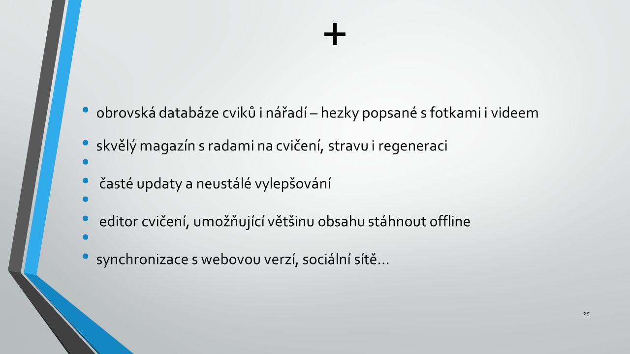 + obrovská databáze cviků i nářadí – hezky popsané s fotkami i videem skvělý magazín s radami na cvičení, stravu i regeneraci časté updaty a neustálé vylepšování editor cvičení, umožňující většinu obsahu stáhnout offline synchronizace s webovou verzí, sociální sítě… 25