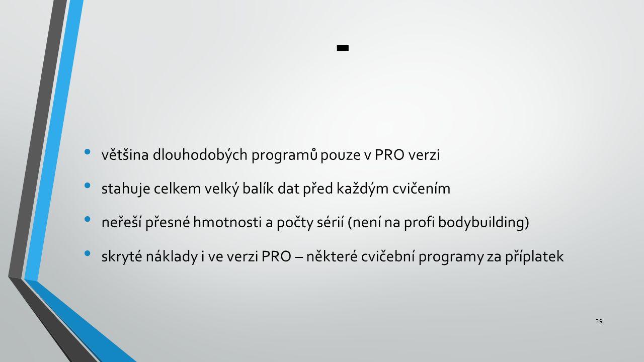 - většina dlouhodobých programů pouze v PRO verzi stahuje celkem velký balík dat před každým cvičením neřeší přesné hmotnosti a počty sérií (není na profi bodybuilding) skryté náklady i ve verzi PRO – některé cvičební programy za příplatek 29