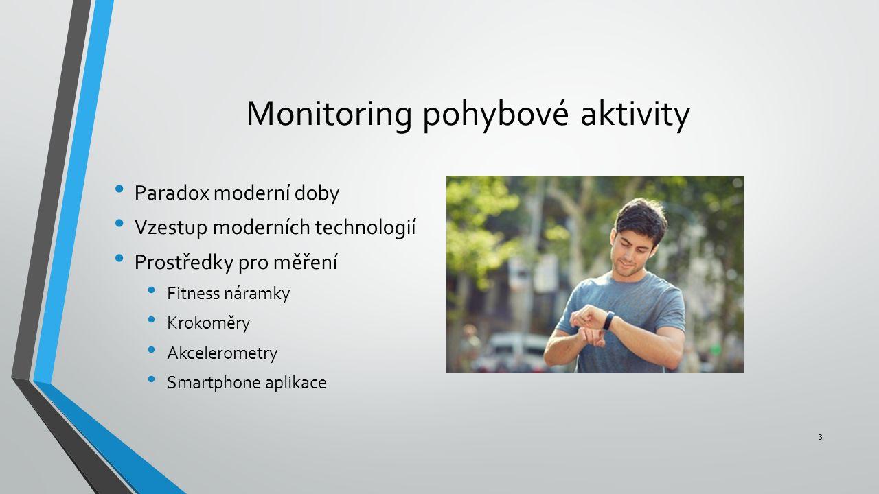 Monitoring pohybové aktivity Paradox moderní doby Vzestup moderních technologií Prostředky pro měření Fitness náramky Krokoměry Akcelerometry Smartphone aplikace 3