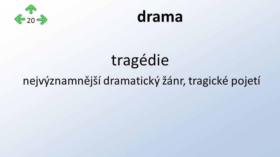 tragédie nejvýznamnější dramatický žánr, tragické pojetí drama 20