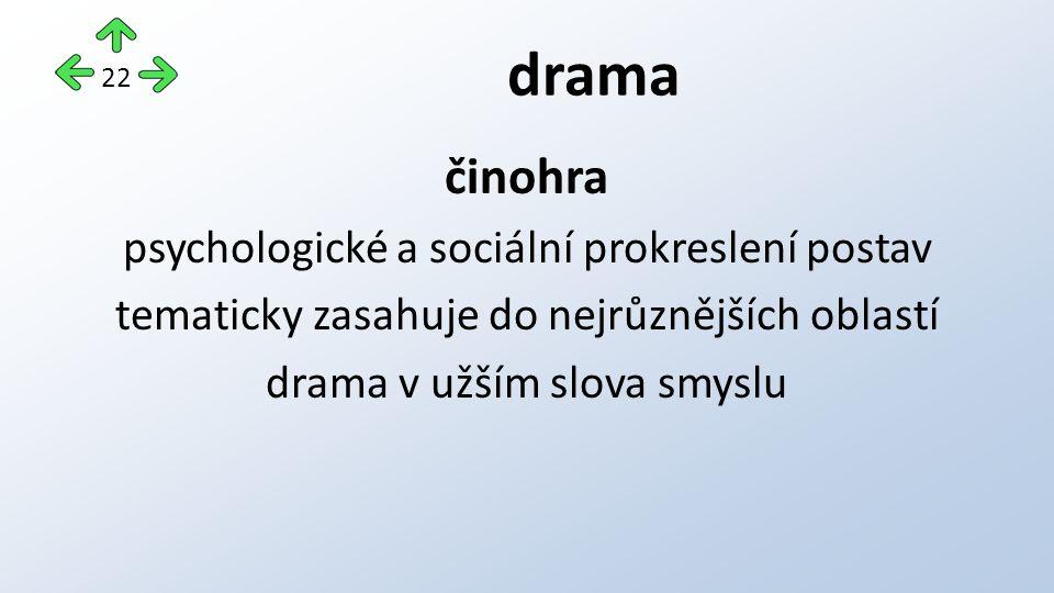 drama činohra psychologické a sociální prokreslení postav tematicky zasahuje do nejrůznějších oblastí drama v užším slova smyslu 22