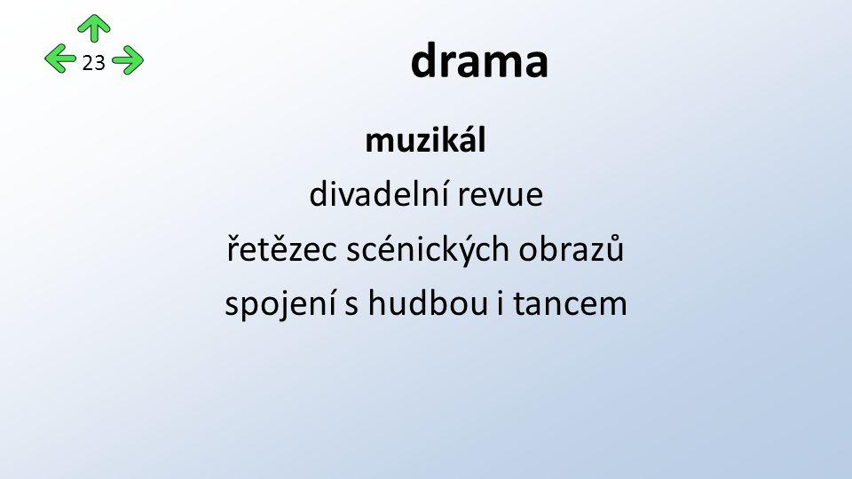 drama muzikál divadelní revue řetězec scénických obrazů spojení s hudbou i tancem 23