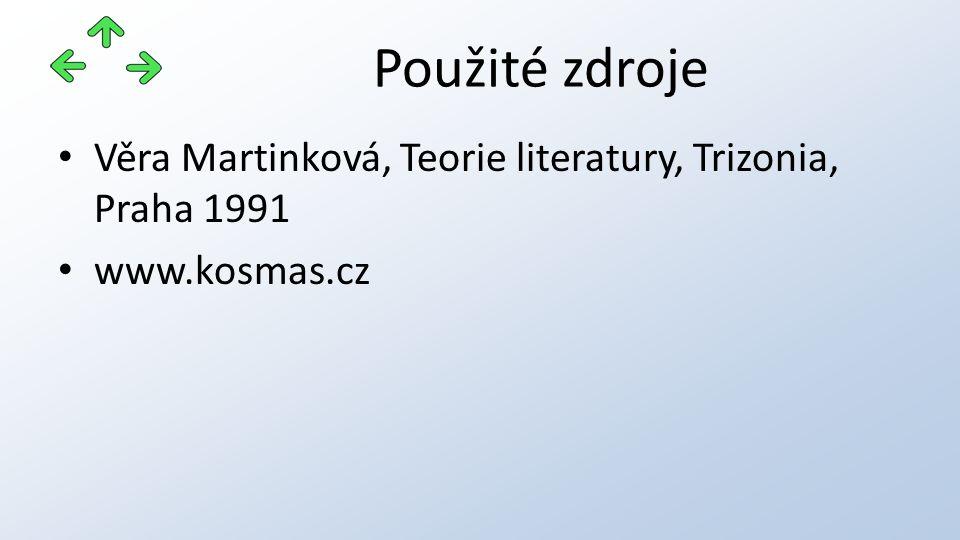 Použité zdroje Věra Martinková, Teorie literatury, Trizonia, Praha 1991 www.kosmas.cz