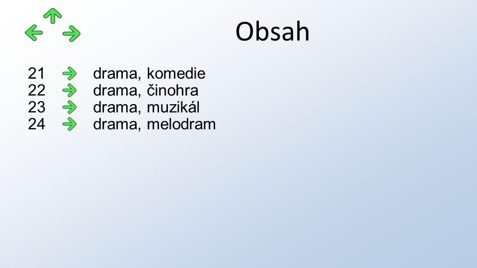 Obsah drama, komedie21 drama, činohra22 drama, muzikál23 drama, melodram24
