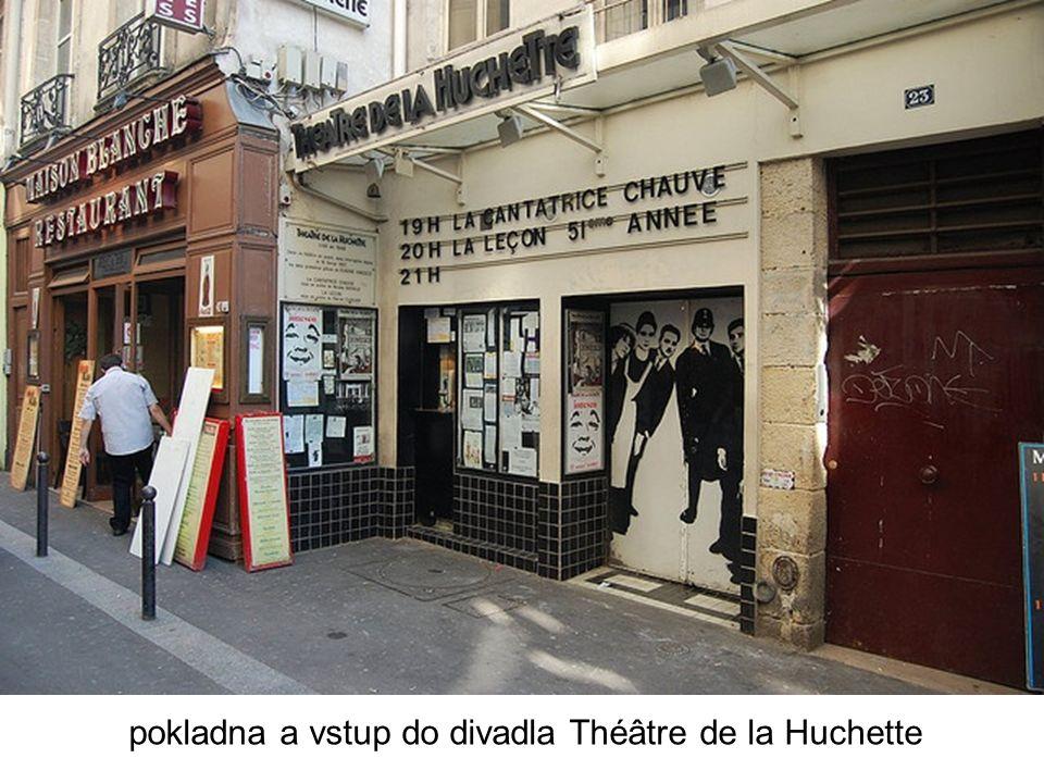 pokladna a vstup do divadla Théâtre de la Huchette