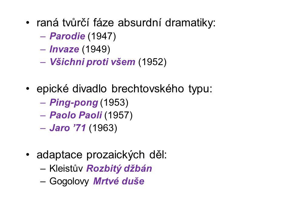 raná tvůrčí fáze absurdní dramatiky: –Parodie (1947) –Invaze (1949) –Všichni proti všem (1952) epické divadlo brechtovského typu: –Ping-pong (1953) –Paolo Paoli (1957) –Jaro '71 (1963) adaptace prozaických děl: –Kleistův Rozbitý džbán –Gogolovy Mrtvé duše