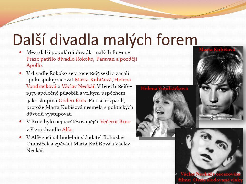 Další divadla malých forem Mezi další populární divadla malých forem v Praze patřilo divadlo Rokoko, Paravan a později Apollo. V divadle Rokoko se v r