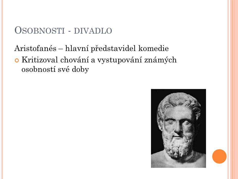 O SOBNOSTI - DIVADLO Aristofanés – hlavní představidel komedie Kritizoval chování a vystupování známých osobností své doby