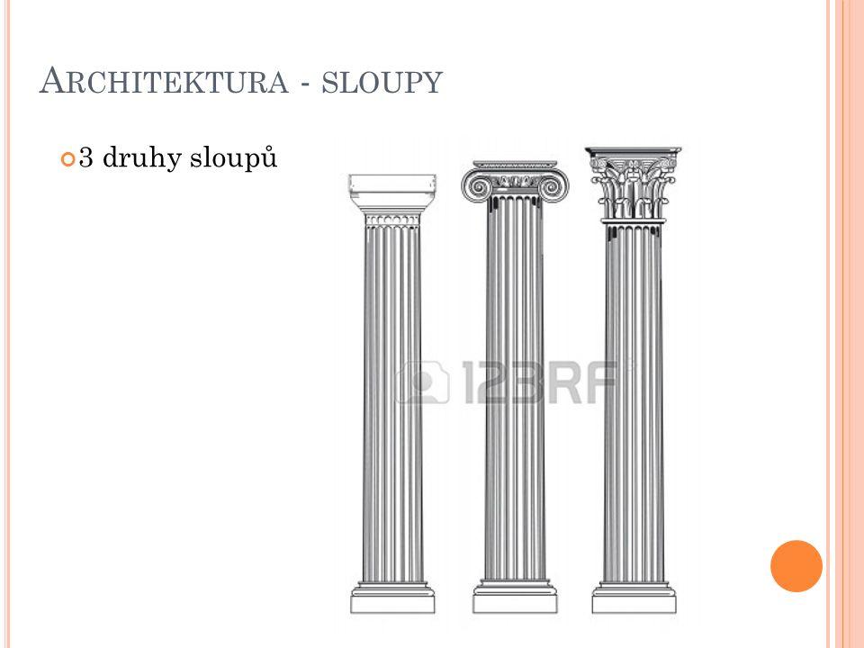 A RCHITEKTURA - SLOUPY 3 druhy sloupů