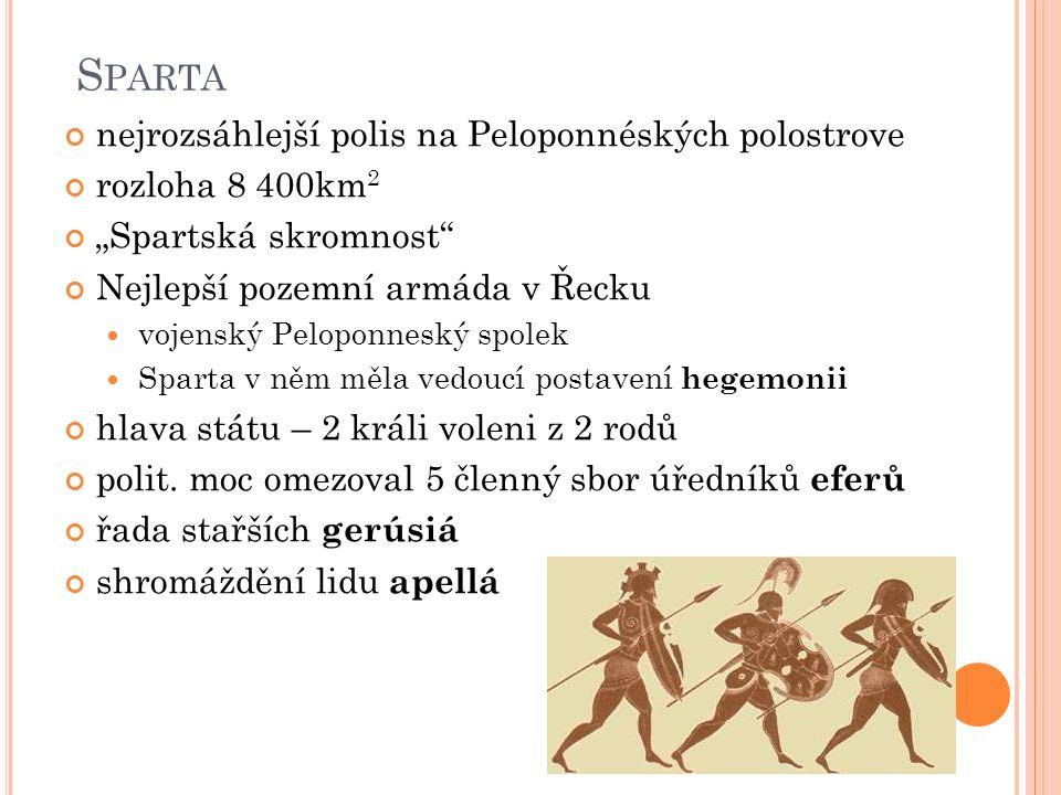 """S PARTA nejrozsáhlejší polis na Peloponnéských polostrove rozloha 8 400km 2 """"Spartská skromnost"""" Nejlepší pozemní armáda v Řecku vojenský Peloponneský"""