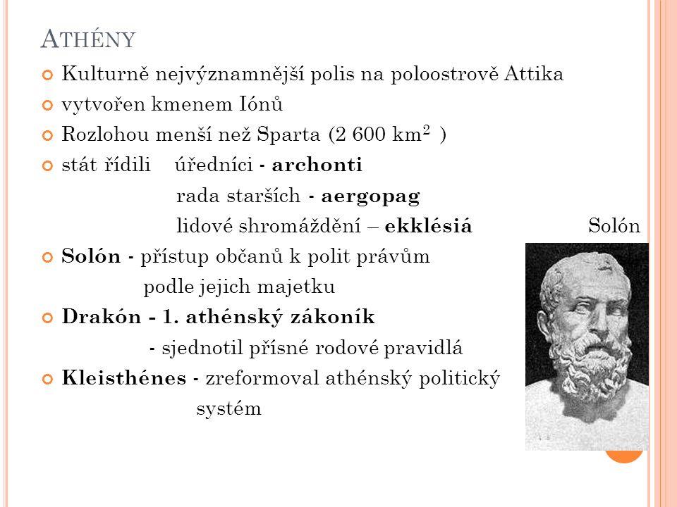 A THÉNY Kulturně nejvýznamnější polis na poloostrově Attika vytvořen kmenem Iónů Rozlohou menší než Sparta (2 600 km 2 ) stát řídili úředníci - archon