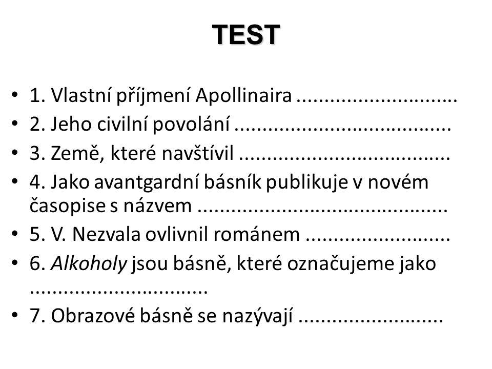 TEST 1. Vlastní příjmení Apollinaira.............................