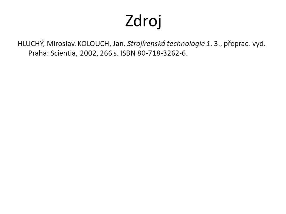 Zdroj HLUCHÝ, Miroslav. KOLOUCH, Jan. Strojírenská technologie 1. 3., přeprac. vyd. Praha: Scientia, 2002, 266 s. ISBN 80-718-3262-6.