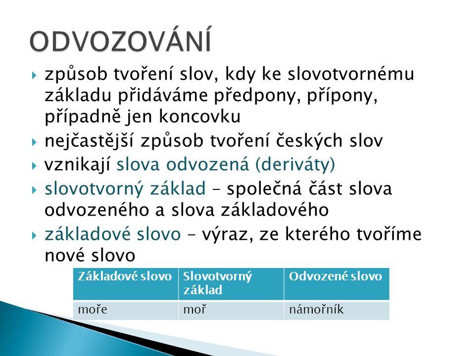  způsob tvoření slov, kdy ke slovotvornému základu přidáváme předpony, přípony, případně jen koncovku  nejčastější způsob tvoření českých slov  vzn