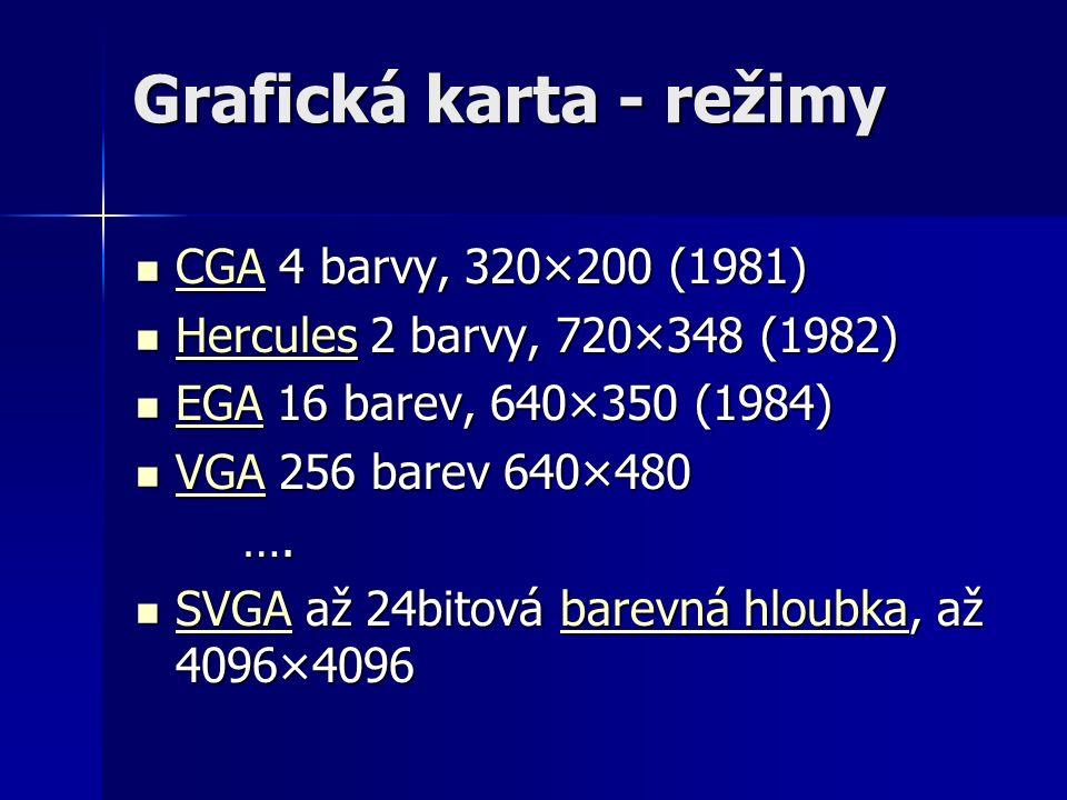 Grafická karta - režimy CGA 4 barvy, 320×200 (1981) CGA 4 barvy, 320×200 (1981) CGA Hercules 2 barvy, 720×348 (1982) Hercules 2 barvy, 720×348 (1982) Hercules EGA 16 barev, 640×350 (1984) EGA 16 barev, 640×350 (1984) EGA VGA 256 barev 640×480 VGA 256 barev 640×480 VGA ….