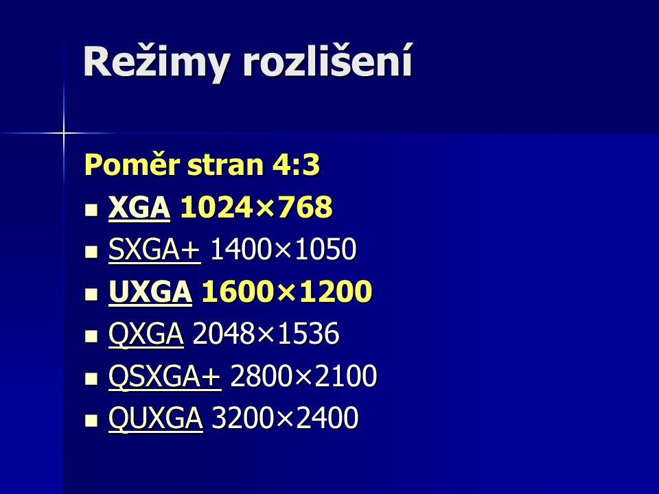 Režimy rozlišení Poměr stran 4:3 XGA 1024×768 XGA 1024×768 XGA SXGA+ 1400×1050 SXGA+ 1400×1050 SXGA+ UXGA 1600×1200 UXGA 1600×1200 UXGA QXGA 2048×1536 QXGA 2048×1536 QXGA QSXGA+ 2800×2100 QSXGA+ 2800×2100 QSXGA+ QUXGA 3200×2400 QUXGA 3200×2400 QUXGA