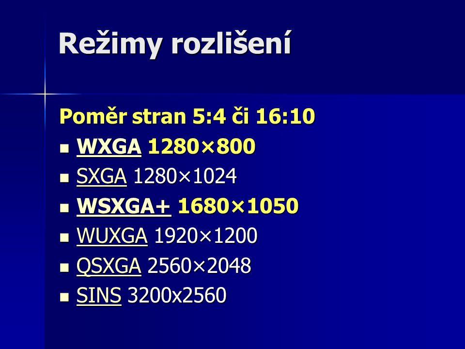 Režimy rozlišení Poměr stran 5:4 či 16:10 WXGA 1280×800 WXGA 1280×800 WXGA SXGA 1280×1024 SXGA 1280×1024 SXGA WSXGA+ 1680×1050 WSXGA+ 1680×1050 WSXGA+ WUXGA 1920×1200 WUXGA 1920×1200 WUXGA QSXGA 2560×2048 QSXGA 2560×2048 QSXGA SINS 3200x2560 SINS 3200x2560 SINS