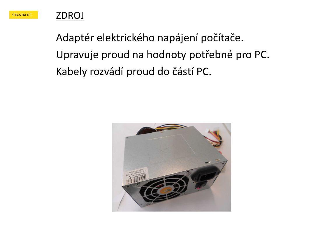 Adaptér elektrického napájení počítače. Upravuje proud na hodnoty potřebné pro PC.