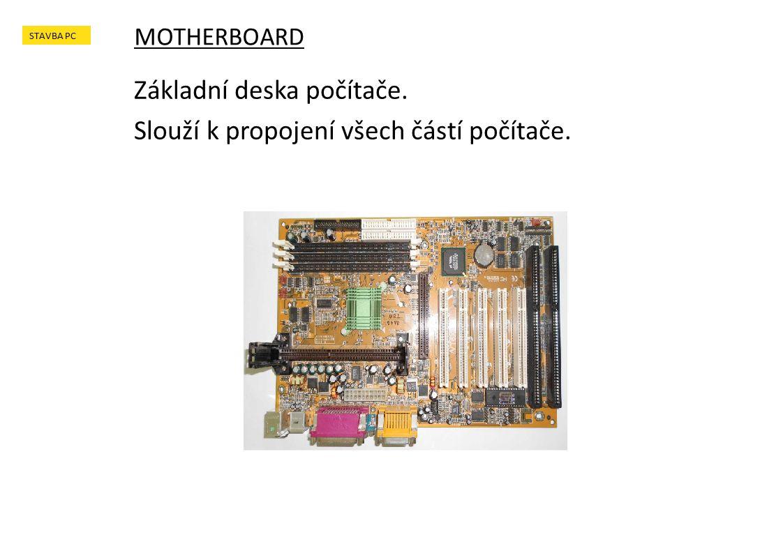 Základní deska počítače. Slouží k propojení všech částí počítače. MOTHERBOARD STAVBA PC