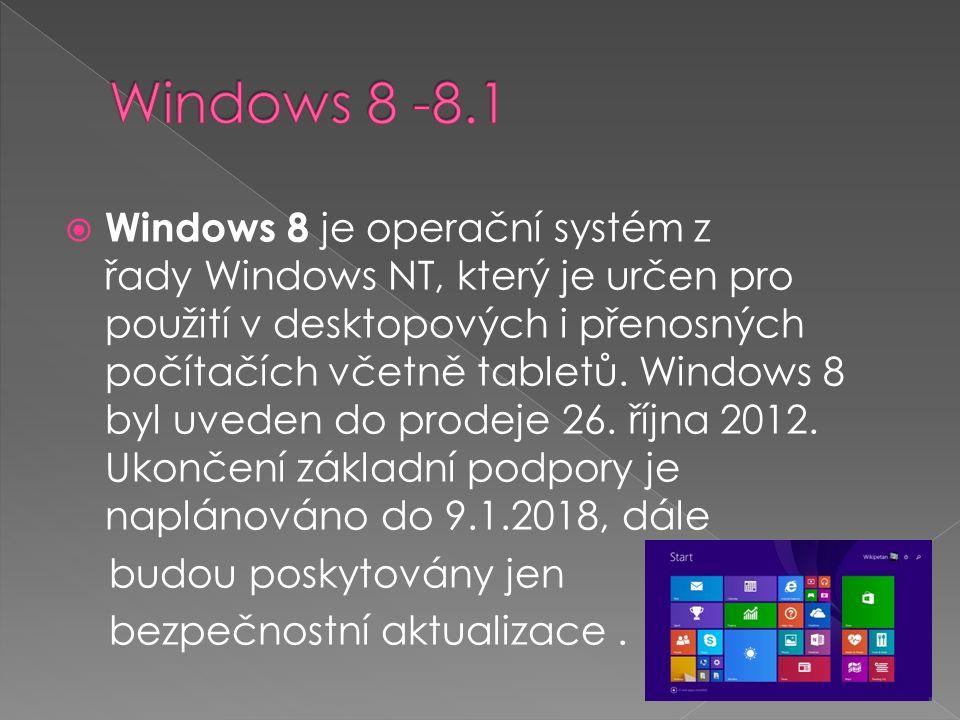  Windows 8 je operační systém z řady Windows NT, který je určen pro použití v desktopových i přenosných počítačích včetně tabletů.