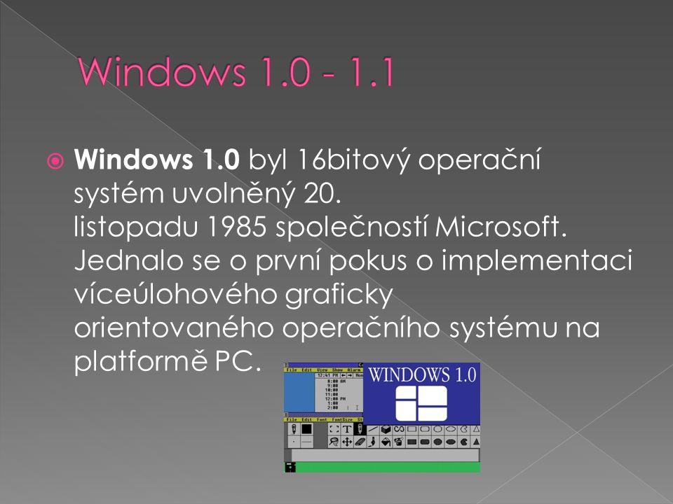  Windows 1.0 byl 16bitový operační systém uvolněný 20. listopadu 1985 společností Microsoft. Jednalo se o první pokus o implementaci víceúlohového gr