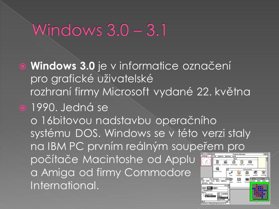  Windows 3.0 je v informatice označení pro grafické uživatelské rozhraní firmy Microsoft vydané 22.