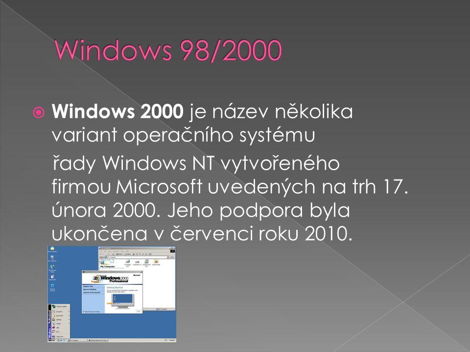  Windows 2000 je název několika variant operačního systému řady Windows NT vytvořeného firmou Microsoft uvedených na trh 17. února 2000. Jeho podpora