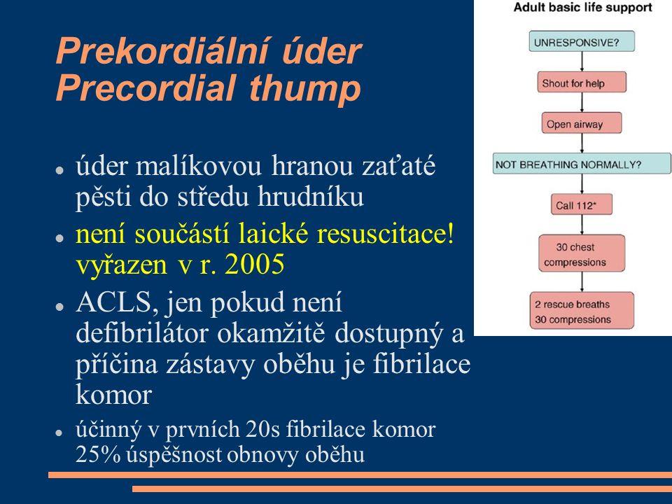 Prekordiální úder Precordial thump úder malíkovou hranou zaťaté pěsti do středu hrudníku není součástí laické resuscitace! vyřazen v r. 2005 ACLS, jen