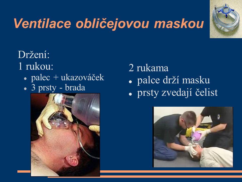 Ventilace obličejovou maskou Držení: 1 rukou: palec + ukazováček 3 prsty - brada 2 rukama palce drží masku prsty zvedají čelist