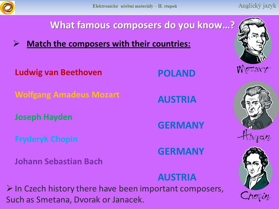 Elektronické učební materiály - II. stupeň Anglický jazyk What famous composers do you know….